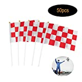 Checkered Racing Flag,Fashionclubs Race Car Pennant Flag Banner with Plastic Stick,50-Pack,8inch x 5.5inch,For Racing,Race Car Party,Sport Events,Kids Birthday (Red&White)