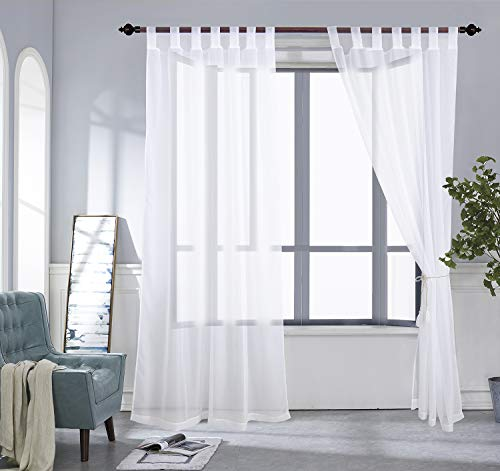PRAVIVE Outdoor Sheer Curtains 84 - Waterproof Tab Top Indoor Outdoor Curtains Patio Privacy White Sheer Drapes Blinds for Porch/Deck/Pergola with 2 Tiebacks, W54 x L84 Inches, 2 Panels by PRAVIVE (Image #1)