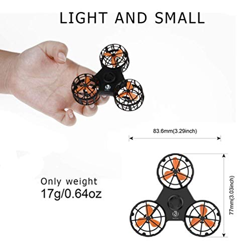 ROHSCE Novelty Tiny Flying Drone Toys, ADHD Relieving Reducer 4 Mode Playing Optional Fidget Rotation Triangle Toys Funny Drone Interactive Games for Kids Adults (Black) by ROHSCE (Image #3)