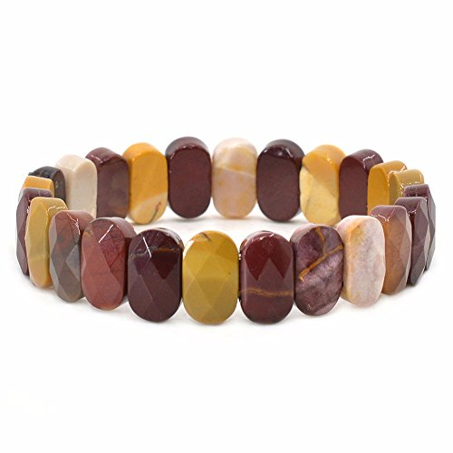 Faceted Stone Stretch Bracelet (Natural Mookaite Jasper Gemstone Faceted 14mm Oval Beads Stretch Bracelet 7