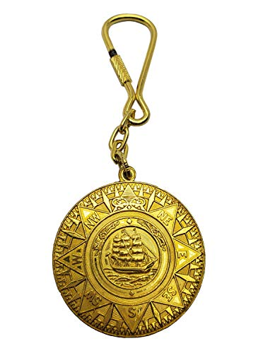 Nautical Themed Brass Keychains (Pirate Ship Coin) ()