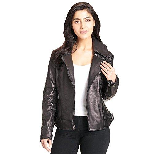ns Zipper Collar Asymmetric Lamb Cycle Jacket M Black (Ladies Leather Zipper Jacket)