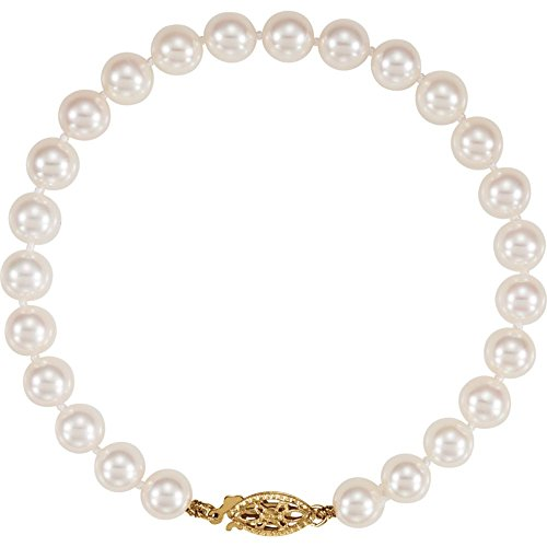 Akoya Cultured Pearl Bracelet With 14K Yellow Gold Clasp by Eternity Wedding Bands