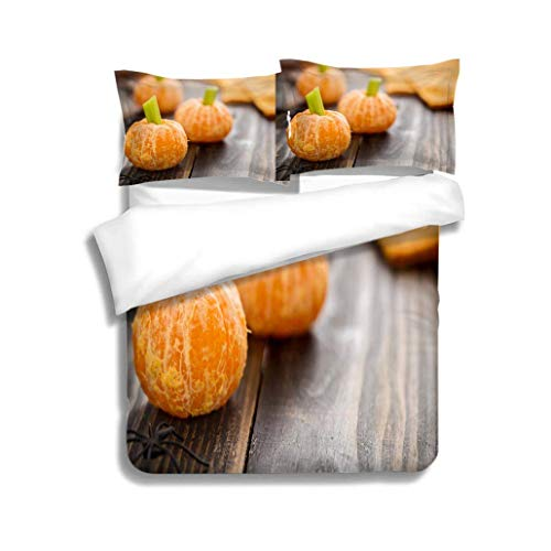 VROSELV-HOME Modern Pattern Printed Duvet Cover,Healthy Halloween Food Tangerine Pumpkins Snack Kids,Soft,Breathable,Hypoallergenic,Soft Microfiber Bedspread Coverlet Bedding
