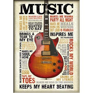 "C&D Visionary Music Keeps My Heart Beating - Fridge Magnet, Retrorocket Studio Artwork, 2.5"" X 3.5"""