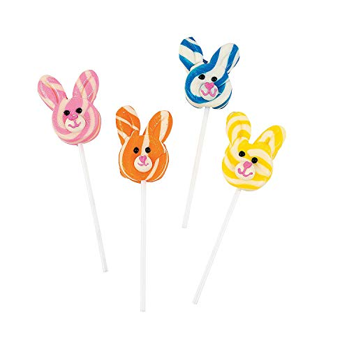 Bunny Easter Candy - Fun Express - BunnY-Shaped Swirl Pops for Easter- Sucker & Pop - Swirl & Twist Pops - Easter - 12 Pieces
