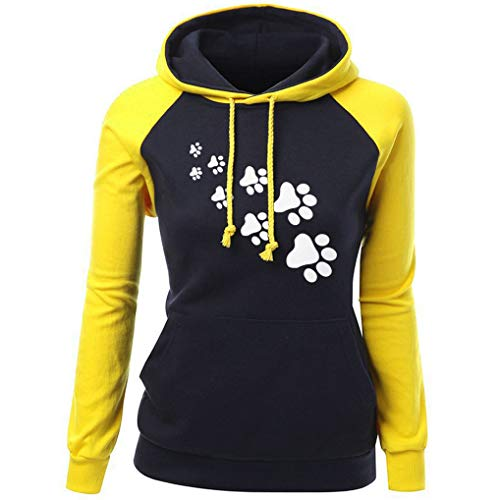UONQD Women Fashion Plus Size Long Sleeve Print Pocket Hooded Neck Blouse Tops(Medium,ZX-Yellow) -