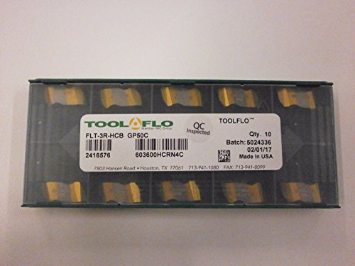 10pc) ToolFlo FLT 3R-HCB GP50C Top Notch Carbide 60° V Threading Inserts NT 3R GP50 Made in USA by Tool Flo