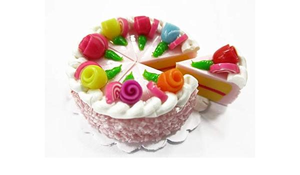 5pcs Mini Strawberry Cream Napoleon Cake Dollhouse Decor KW