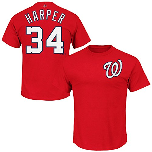 - Outerstuff Bryce Harper Washington Nationals #34 Kids 4-7 Player Name & Number T-Shirt Red (Kids Small 4)