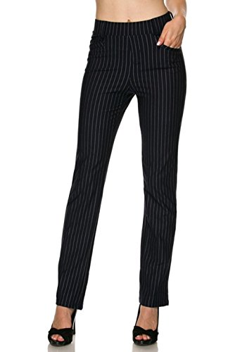 (2LUV Women's Pull On Pin Stripe Stretch Fit Wide Leg Dress Pants Navy M)