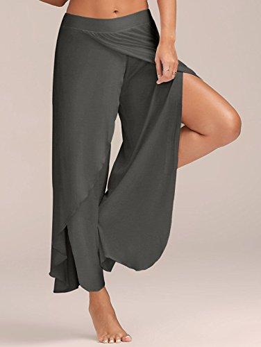 Femmes Gris Division Fit Casual Loose Couleur Forme Foncé Minetom Taille Yoga Élastique Pantalon Remise Mince Pure En De Large Tdgvn7