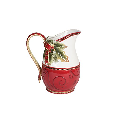 Fitz and Floyd 19-660 Damask Ceramic Holiday Pitcher Ornate, 54-Ounce, Vintage Red/Gold (Santa Claus Pitcher)