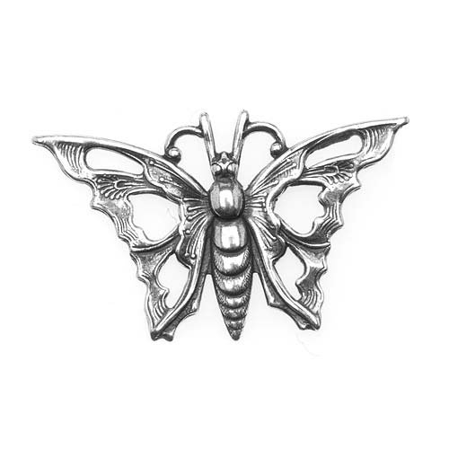 Antiqued Silver Plated Stamping Art Nouveau Butterfly 35mm (1)