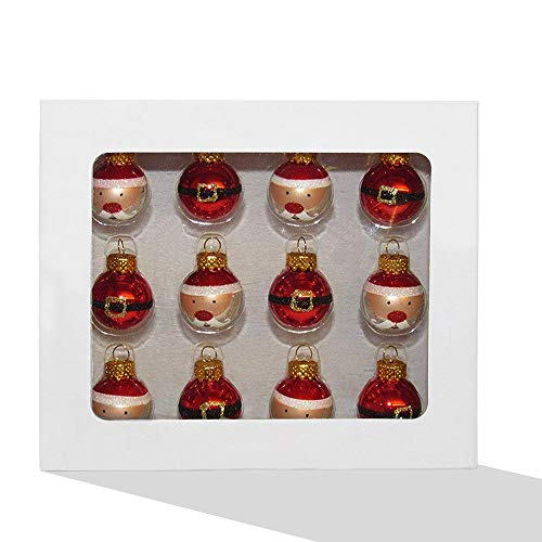 Kurt Adler 25mm Glass Santa+Buckle Ball Ornaments 12P (Claus Santa Glass Ornaments)