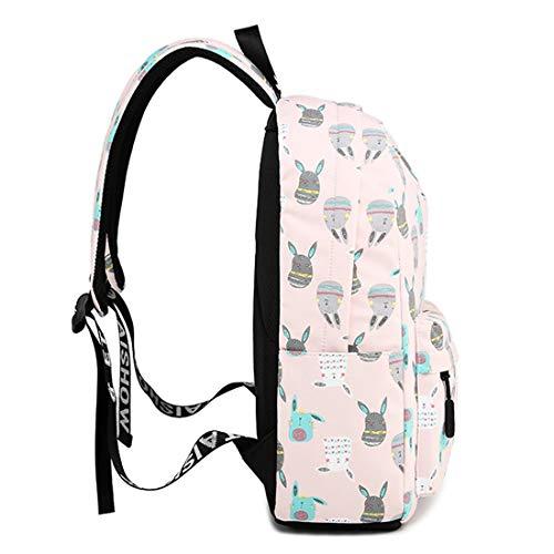 Volver Escuela Capacidad Monedero color Niñas A4 Estudiante Mochila Blue Gran Ligero Pink Magai Viaje Réplica Secundaria De n1UExB