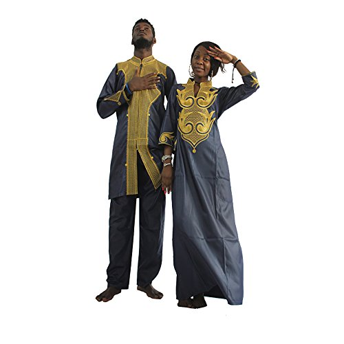 HD Dashiki African Couple Clothing for Woman,Traditional Bazin Maxi Wedding Dress,F-Blue 2XL