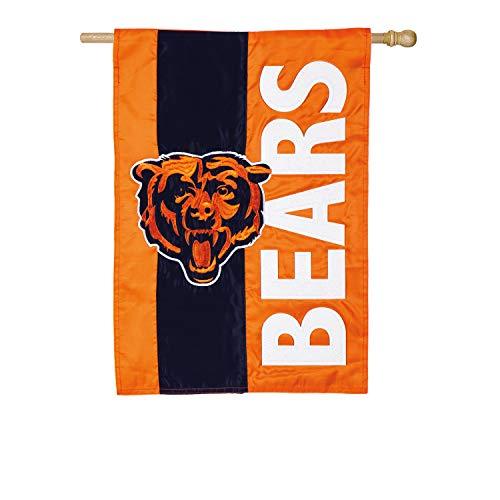 Team Sports America Chicago Bears Embellish Reg Flag, Multicolor (Flag House Bears)
