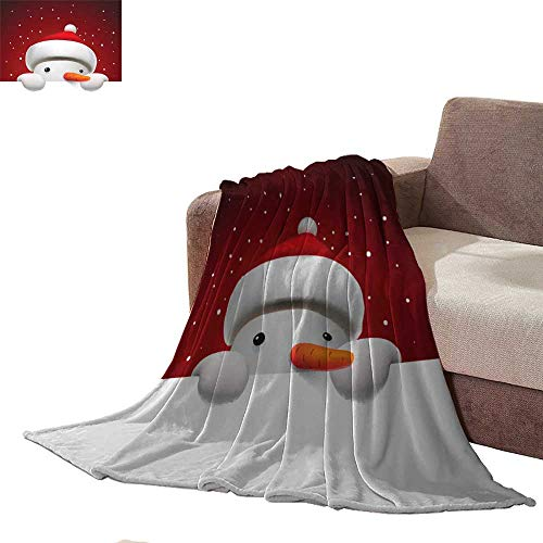 Zmstroy Warm Blanket Cute Snowman Holding White Page Christmas Card Mini Couch L90 - Sox Red Boston Snowman