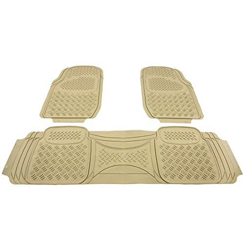 AOTOMIO 3 Pieces Rubber Floor Mats, Style F – Beige