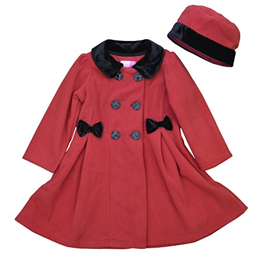 Good Lad 2/6X Girls Double Breasted Fleece Coat with Bows (5, Red)