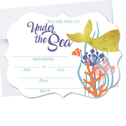Under The Sea Mermaid Die Cut Shape Blank Fill in Invite with Real Gold Foil Baby Shower, Birthday Invitation 10 Pack Envelopes A7 5x7 Die Cut -