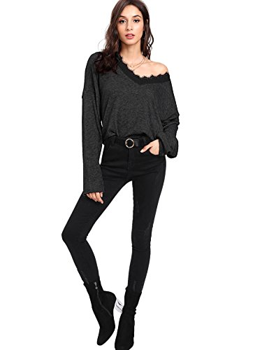 Verdusa Women's Batwing Sleeve Sweaters Jumper Eyelash Lace Pullover Tops Black M by Verdusa (Image #3)