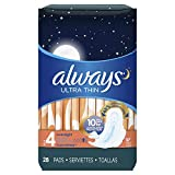 Always Ultra Thin, Size 4, Overnight Pads With Wings, Unscented, 56 Count (Pack of 2) - Packaging May Vary
