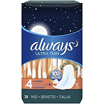 Always Ultra Thin Feminine Pads with Wings for Women, Size 4, Overnight Absorbency, Unscented, 28 count - Pack of 3 (84 Count Total) (Packaging May Vary)