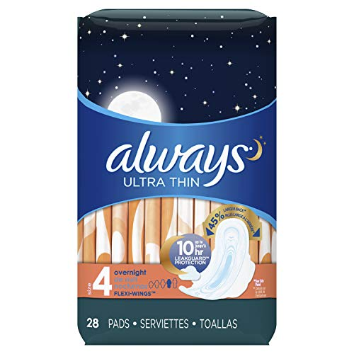 Always Ultra Thin Feminine Pads with Wings for Women, Size 4, Overnight Absorbency, Unscented, 28 count - Pack of 3 (84 Count Total) (Packaging May Vary) (Always Radiant Infinity Overnight Pads With Flexi Wings)