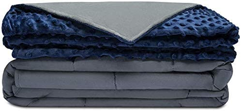 "Quility Premium Adult Weighted Blanket & Removable Cover - 20 lbs - 60""x80"" - for Individual Between 190-240 lbs - Full Size Bed - Premium Glass Beads - Cotton/Minky - Grey/Navy Blue Color"