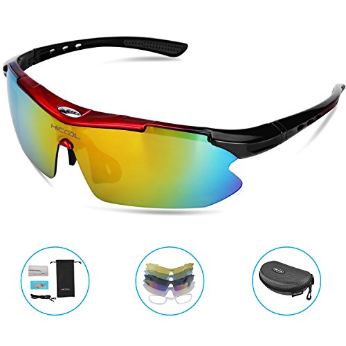 HiCool Cycling Glasses, Polarized Sports Sunglasses with 5 Interchangeable Lenses UV Protection Unbreakable Driving Running Hiking Golf Baseball Fishing Biking Glasses for Men Women Youth by HiCool