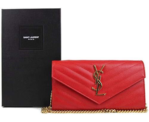 Saint-Laurent Red WOC Chain Wallet Purse With Interlocking 393965 6422