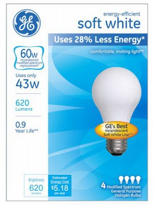 GE Lighting 66247 43 Watt A19 Halogen Light Bulb Pack 4 Count