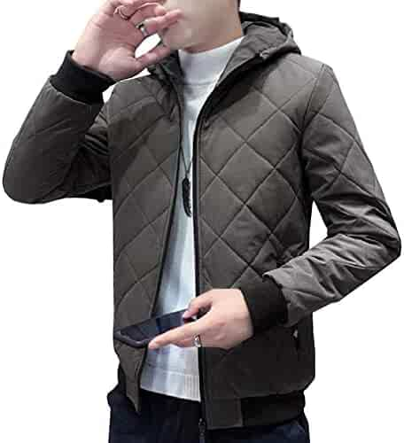 OTW Mens Thermal Winter Full Zip Embroidery Hooded Down Quilted Puffer Jacket Coat Outerwear