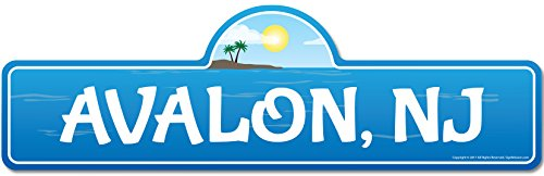 SignMission Avalon, NJ New Jersey Beach Street Sign | Indoor/Outdoor | Surfer, Ocean Lover, Décor For Beach House, Garages, Living Rooms, Bedroom Personalized Gift ()