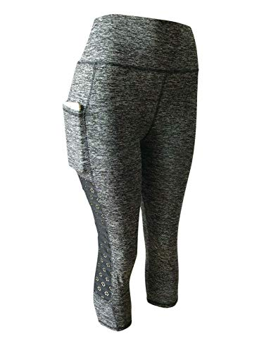 NY GOLDEN FASHION Women Compression Yoga Pants Stretch Workout Fitness Active Capri Leggings with 2 Pockets (S/M, Floral Meshed Grey) ()