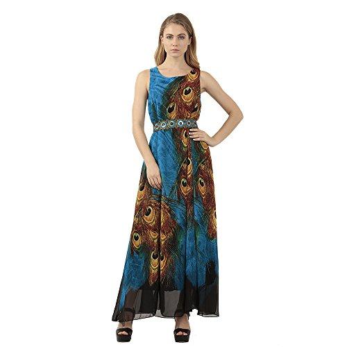 Omonsim Womens Peacock Printed Paris Bohemian Summer Maxi Dress