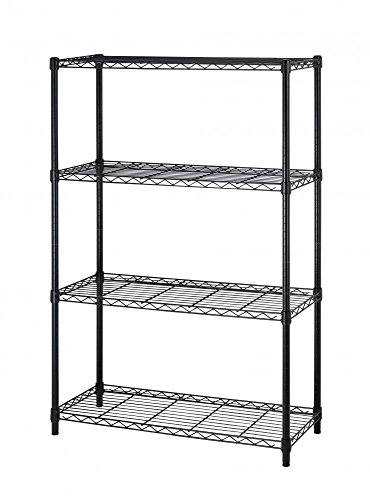 4Shelf Wire Shelving Unit Garage NSF Wire Shelf Metal Large Storage Shelves Heavy Duty Height Adjustable Utility Commercial Grade Steel Layer Shelf Rack Organizer for 1000 LBS Capacity -14x36x54,Black