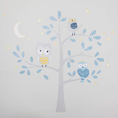 Lambs & Ivy Happi by Dena Night Owl Jumbo Wall Decals/Appliques - Blue, Gray