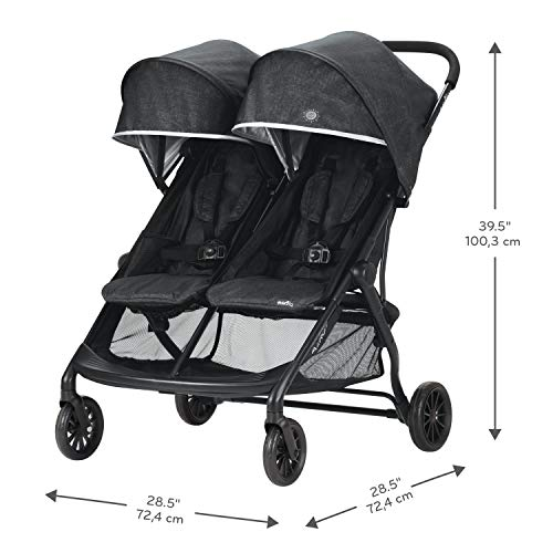 41CCcwFVUIL - Evenflo Aero2 Ultra-Lightweight Double Strollers, Compact, Self-Standing Folding Design, Shopping Basket Single-Child Mode, Seatback Storage Pocket, 2 Mesh In-Seat Pockets, 50-lb Per Seat, Osprey Gray