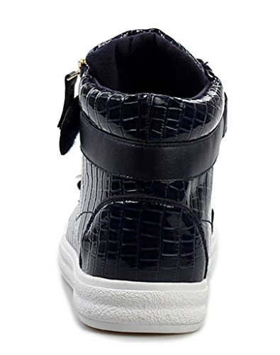 Sneakers In Jiye Mens In Metallo Con Cerniera Alta Moda Sneakers Blu