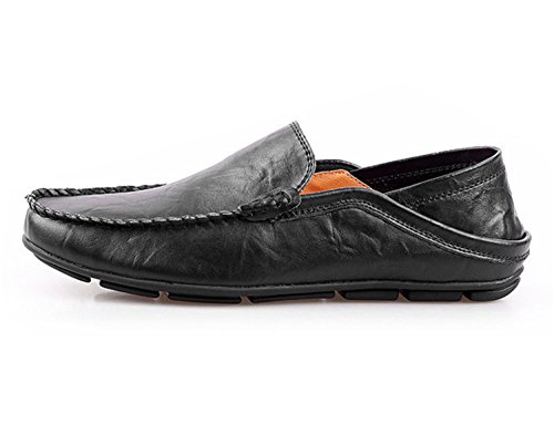 Casual Fashion Flats Luxury Loafers Men Shoes Shoes RIGHT NEWMEN Driving Genuine Black Men Loafers Shoes Leather FxTnqgw5