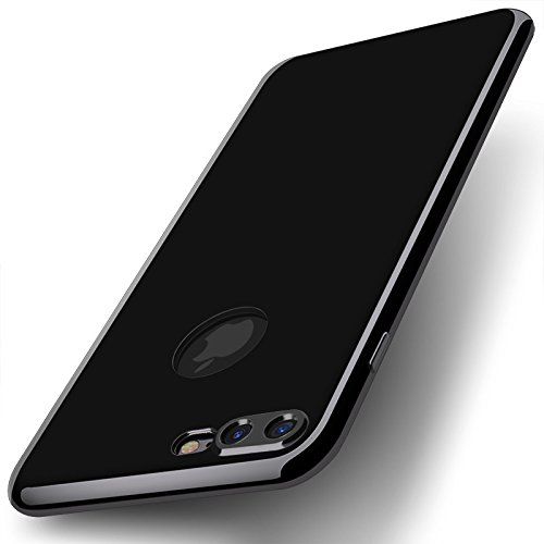 Kapa Glossy Jet Black Ultra Thin Flexible Protective Back Case Cover For Apple Iphone 8 Plus Iphone 7 Plus 5 5 Black Amazon In Electronics