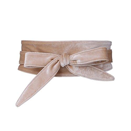 Shengweiao Women's Soft Velvet Wrap Around Self Tie Waist Belt ()