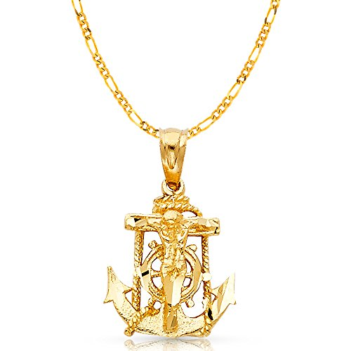 (14K Yellow Gold Mariner Crucifix Charm Pendant with 2.3mm Figaro 3+1 Chain Necklace - 22