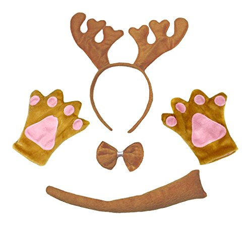 Child Deer Costumes (Petitebella Headband Bowtie Tail Gloves Unisex Children 4pc Costume (Brown Xmas Reindeer))