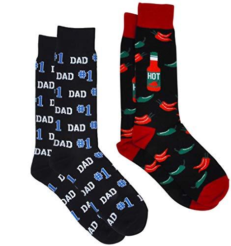 360 Threads Men's Novelty Socks - 2 Pair Set (#1 Dad black & Hot Sauce)
