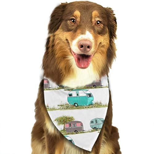 Dog Bandana Socks Lets Go Camping Retro Travel Trailers Triangle Bibs Scarf Printing Kerchief Set Accessories Dogs Cats Pets ()