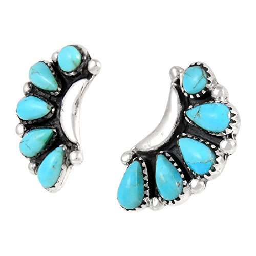 Turquoise Earrings 925 Sterling Silver Genuine Turquoise (SELECT style) (Blossoms) by Turquoise Network (Image #2)